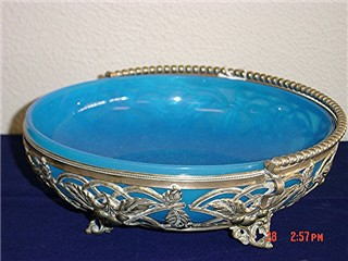 Blue opaline glass bowl/silver holder