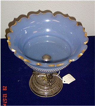 Blue French bowl sterling base
