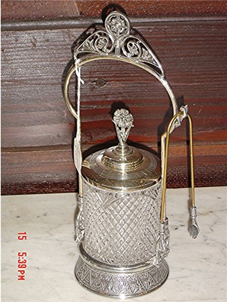 Clear pickle caster 1889 silverplate frame