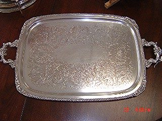 2 handles silverplate tray
