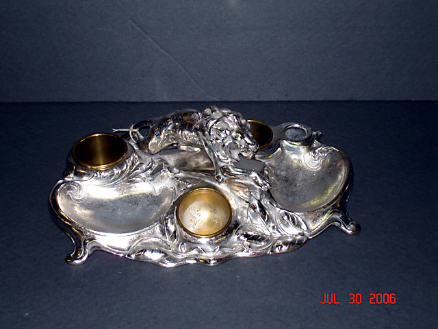 Silverplate smoking stand