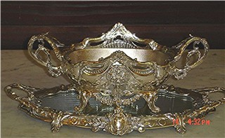 Silverplate French centerpiece bowl and plateau