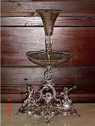 Silverplate & crystal cherub epergne