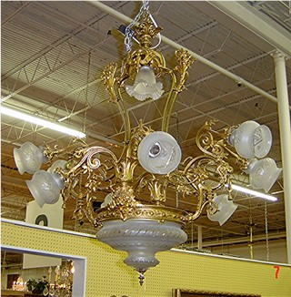 French Victorian ten-light bronze dore and etched crystal chandelier; last quarter 19th century